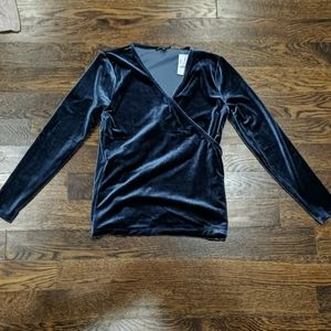 NWT J. Crew Blue Velvet Wrap Front Top Size Small
